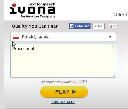 Ivona aplikacja online •• program web on-line